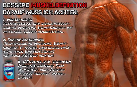 Bessere Muskeldefinition durch Creatin und Arginin